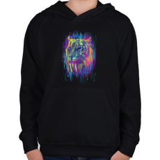 PRINTFASHION Tigris - Gyerek kapucnis pulóver - Fekete