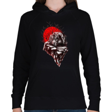 PRINTFASHION Tigris territórium - Női kapucnis pulóver - Fekete
