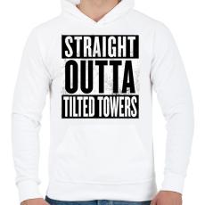 PRINTFASHION Tilted Towers - Férfi kapucnis pulóver - Fehér