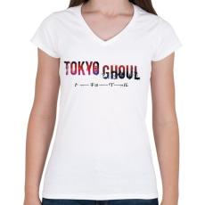 PRINTFASHION Tokyo ghoul - Női V-nyakú póló - Fehér