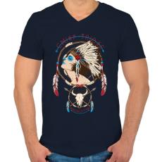 PRINTFASHION Törzsfőnök - Férfi V-nyakú póló - Sötétkék