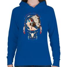 PRINTFASHION Törzsfőnök - Női kapucnis pulóver - Királykék