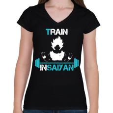 PRINTFASHION Train In Saiyan - Női V-nyakú póló - Fekete