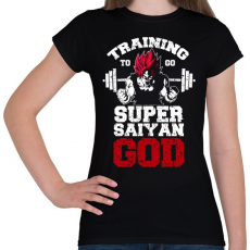 PRINTFASHION Training to go super saiyan GOD - Női póló - Fekete