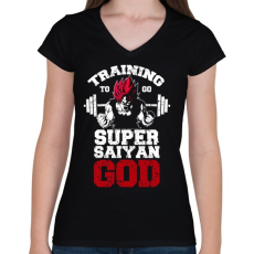 PRINTFASHION Training to go super saiyan GOD - Női V-nyakú póló - Fekete