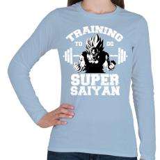 PRINTFASHION Training to go super saiyan - Női hosszú ujjú póló - Világoskék
