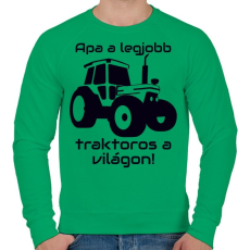 PRINTFASHION Traktoros Apa - Férfi pulóver - Zöld