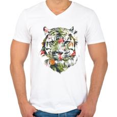 PRINTFASHION Tropical tiger - Férfi V-nyakú póló - Fehér