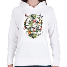 PRINTFASHION Tropical tiger - Női kapucnis pulóver - Fehér