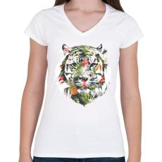 PRINTFASHION Tropical tiger - Női V-nyakú póló - Fehér
