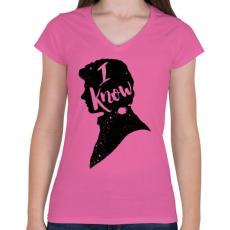 PRINTFASHION Tudom... - Női V-nyakú póló - Rózsaszín