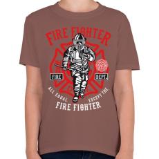 PRINTFASHION Tűzoltó - Gyerek póló - Mogyoróbarna