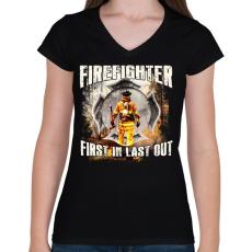 PRINTFASHION Tűzoltó - Női V-nyakú póló - Fekete