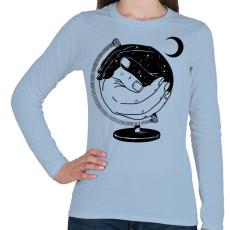 PRINTFASHION Új világ - Női hosszú ujjú póló - Világoskék