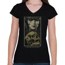 PRINTFASHION Újjászületés - Női V-nyakú póló - Fekete