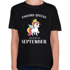PRINTFASHION Unikornis királynők szeptemberben születnek - Gyerek póló - Fekete