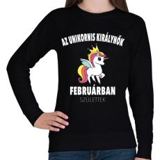 PRINTFASHION Unikornis királynők februárban születtek (MAGYAR) - Női pulóver - Fekete