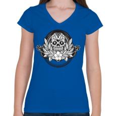 PRINTFASHION Ünnepi koponya - Női V-nyakú póló - Királykék