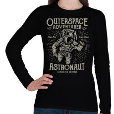 PRINTFASHION Űrhajós kaland - Női hosszú ujjú póló - Fekete
