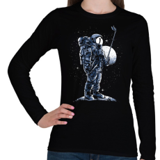 PRINTFASHION Űrhajós szelfi - Női hosszú ujjú póló - Fekete