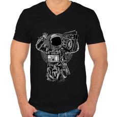 PRINTFASHION Űrhajós zenegép - Férfi V-nyakú póló - Fekete