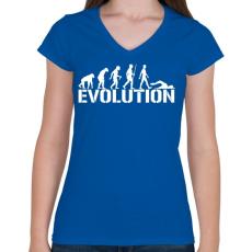 PRINTFASHION Úszás evolúció - Női V-nyakú póló - Királykék