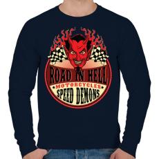 PRINTFASHION Út a pokolban - Férfi pulóver - Sötétkék