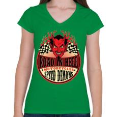 PRINTFASHION Út a pokolban - Női V-nyakú póló - Zöld