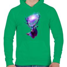 PRINTFASHION Utazó szarvas - Férfi kapucnis pulóver - Zöld