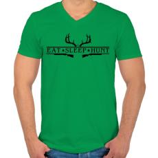 PRINTFASHION Vadászat - Férfi V-nyakú póló - Zöld
