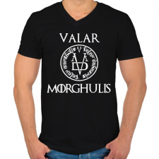 PRINTFASHION Valar Morghulis - Férfi V-nyakú póló - Fekete férfi póló