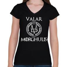PRINTFASHION Valar Morghulis - Női V-nyakú póló - Fekete