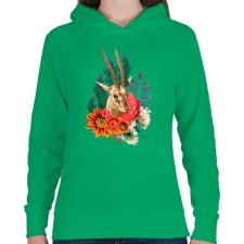 PRINTFASHION Varázslatos antilop - Női kapucnis pulóver - Zöld női pulóver, kardigán