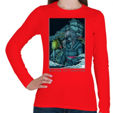 PRINTFASHION Várom a holnapot - Női hosszú ujjú póló - Piros