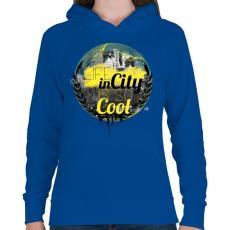 PRINTFASHION Városi élet - Női kapucnis pulóver - Királykék