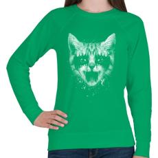 PRINTFASHION Vasmacska - Női pulóver - Zöld