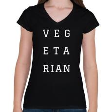 PRINTFASHION Vegetarian - Női V-nyakú póló - Fekete
