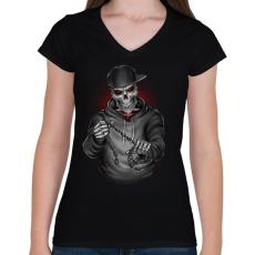 PRINTFASHION Végrehajtó - Női V-nyakú póló - Fekete