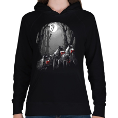 PRINTFASHION Vérszomjas falka - Női kapucnis pulóver - Fekete