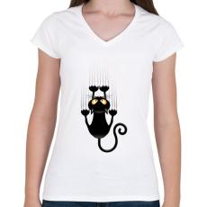 PRINTFASHION Vicces cicás póló - Női V-nyakú póló - Fehér