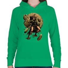 PRINTFASHION Viking - Női kapucnis pulóver - Zöld