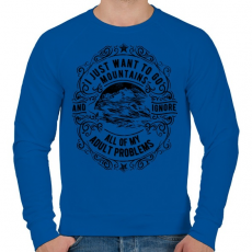 PRINTFASHION Vissza a hegyekbe - Férfi pulóver - Királykék
