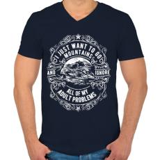 PRINTFASHION Vissza a hegyekbe - Férfi V-nyakú póló - Sötétkék