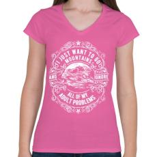 PRINTFASHION Vissza a hegyekbe - Női V-nyakú póló - Rózsaszín