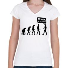 PRINTFASHION Vissza, megszívtuk! - Női V-nyakú póló - Fehér
