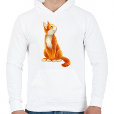 PRINTFASHION Vörös cica - Férfi kapucnis pulóver - Fehér