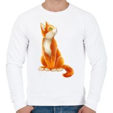 PRINTFASHION Vörös cica - Férfi pulóver - Fehér
