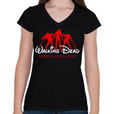 PRINTFASHION Walking Dead - Női V-nyakú póló - Fekete