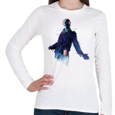 PRINTFASHION Walkmandead - Női hosszú ujjú póló - Fehér