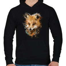 PRINTFASHION watercolor fox - Férfi kapucnis pulóver - Fekete